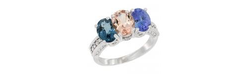 14k White Gold 3-Stone Morganite Rings