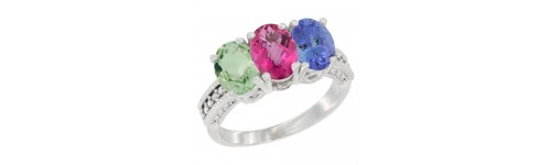 14k White Gold 3-Stone Pink Topaz Rings