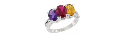 14k White Gold 3-Stone Ruby Rings