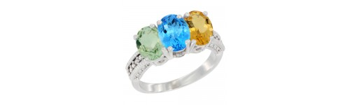 14k White Gold 3-Stone Swiss Blue Topaz Rings