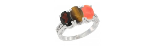 14k White Gold 3-Stone Tiger Eye Rings