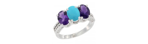 14k White Gold 3-Stone Turquoise Rings