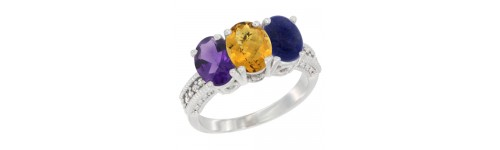 14k White Gold 3-Stone Whisky Quartz Rings
