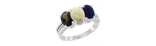 14k White Gold 3-Stone White Opal Rings