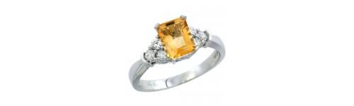 14k White Gold Citrine Rings