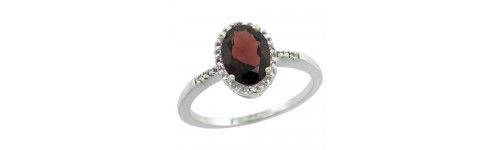 14k White Gold Garnet Rings