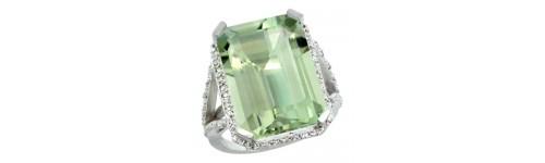 14k White Gold Green Amethyst Rings