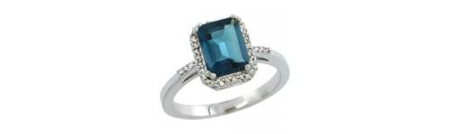 14k White Gold London Blue Topaz Rings