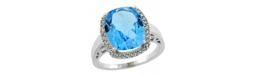 14k White Gold Swiss Blue Topaz Rings