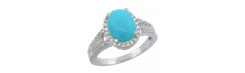 14k White Gold Turquoise Rings