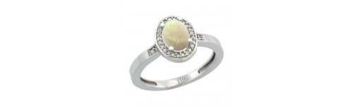 14k White Gold White Opal Rings