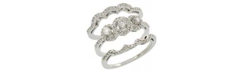 14k White Gold 3-Piece Rings
