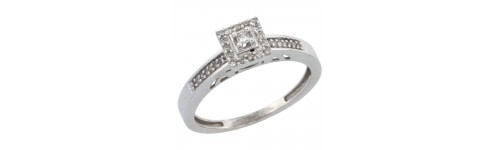14k White Gold Solitaire Rings