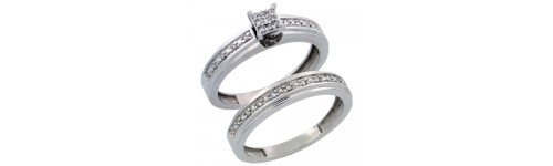 14k White Gold 2-Piece Ladies' Rings