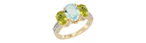 14k Yellow Gold 3-Stone Aquamarine Rings