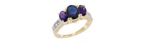 14k Yellow Gold 3-Stone Blue Sapphire Rings