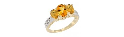 14k Yellow Gold 3-Stone Citrine Rings