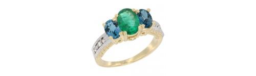 14k Yellow Gold 3-Stone Emerald Rings