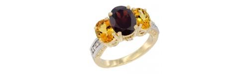 14k Yellow Gold 3-Stone Garnet Rings