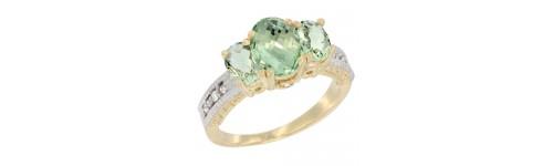 14k Yellow Gold 3-Stone Green Amethyst Rings