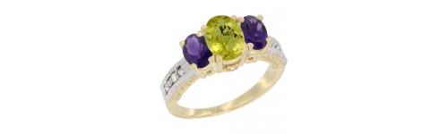 14k Yellow Gold 3-Stone Lemon Quartz Rings