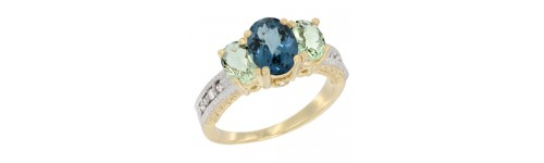 14k Yellow Gold 3-Stone London Blue Topaz Rings