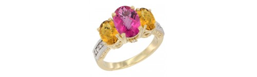 14k Yellow Gold 3-Stone Pink Topaz Rings