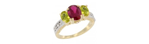 14k Yellow Gold 3-Stone Ruby Rings