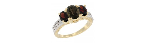 14k Yellow Gold 3-Stone Smoky Topaz Rings
