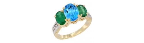 14k Yellow Gold 3-Stone Swiss Blue Topaz Rings
