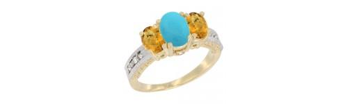 14k Yellow Gold 3-Stone Turquoise Rings