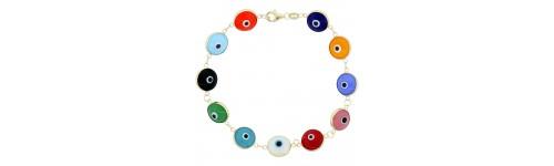 14k Yellow Gold Evil Eye Bracelets