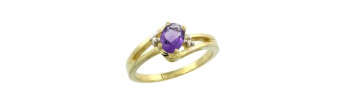 14k Yellow Gold Amethyst Rings