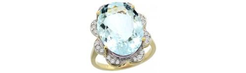 14k Yellow Gold Aquamarine Rings