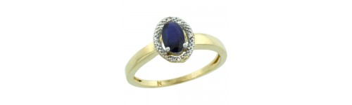 14k Yellow Gold Blue Sapphire Rings