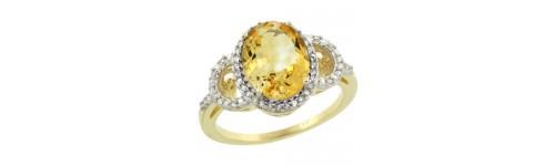 14k Yellow Gold Citrine Rings