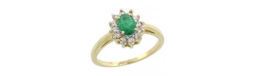 14k Yellow Gold Emerald Rings