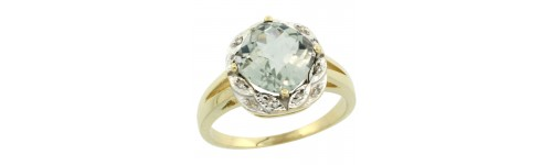 14k Yellow Gold Green Amethyst Rings