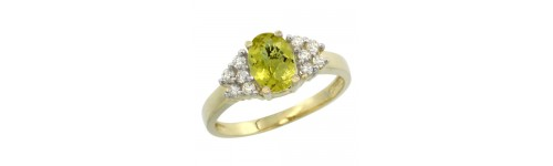 14k Yellow Gold Lemon Quartz Rings