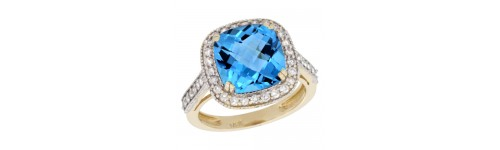 14k Yellow Gold Swiss Blue Topaz Rings