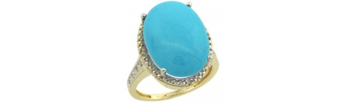 14k Yellow Gold Turquoise Rings