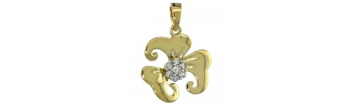 14k Yellow Gold Diamond Pendants