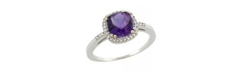 14k White Gold Color Gemstone Rings