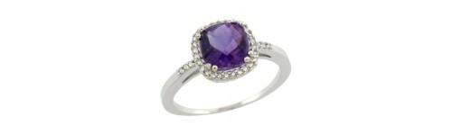 14k White Gold Color Gemstone Rings