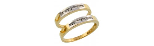 14k Yellow Gold His & Hers Bands