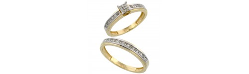 14k Yellow Gold His & Hers Rings