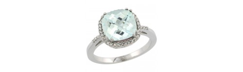 Aquamarine & Diamonds Silver Rings