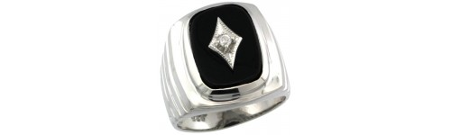 Black Onyx & Diamonds Silver Rings