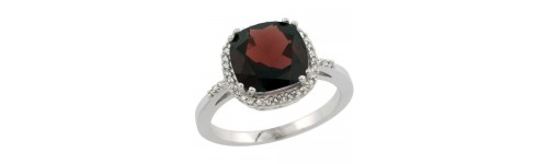 Garnet & Diamonds Silver Rings