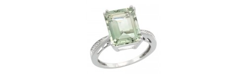 Green Amethyst & Diamonds Silver Rings
